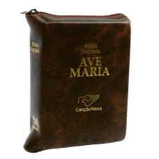 Bíblia Sagrada Ave Maria média com zíper